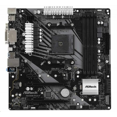 ASRock MB Sc AM4 AB350M Pro4-F, AMD Promontory B350 / X370, 4xDDR4, HDMI