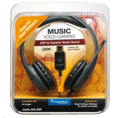 PLANTRONICS sluchátka s mikrofonem Audio 655 DSP pro PC, USB, černá