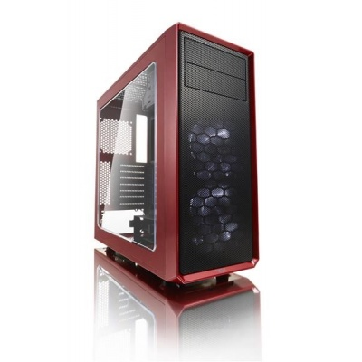 FRACTAL DESIGN skříň FOCUS G, Midi Tower, průhledný bok, Red, bez zdroje