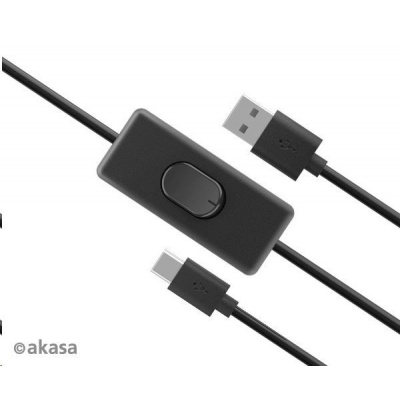 AKASA kabel USB-A 2.0 na USB-C, napájecí kabel se switchem (pro Raspberry Pi 4), 1.5m