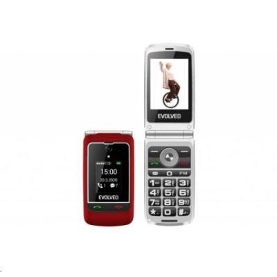 """EVOLVEO EasyPhone FG, vyklápěcí mobilní telefon 2,8"""" pro seniory s nabíjecím stojánkem, červená"""