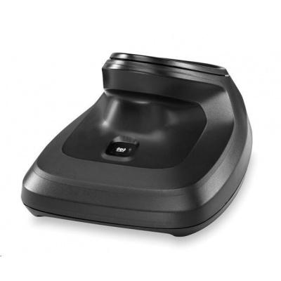 Zebra charging/transmitter cradle, presentation, black