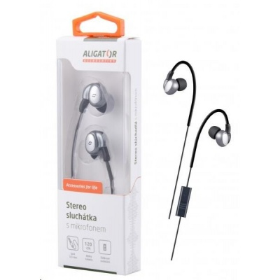 Aligator stereo sluchátka AE03 s mikrofonem, 3,5 mm jack, šedá