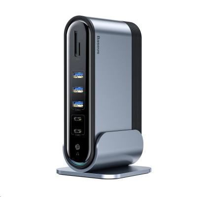 Baseus dokovací stanice 17v1 pro promítání 3 obrazovek s USB-C připojením (CN+EU+UK redukce do zásuvky), šedá