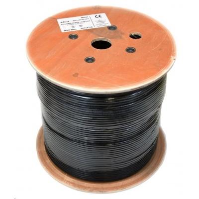 UTP kabel LEXI-Net, Cat6, drát, dvojitý PVC+PE, černý, 500m, cívka