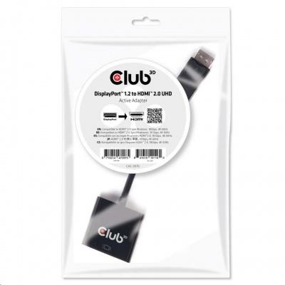 Club3D Adaptér aktivní DisplayPort 1.2 na HDMI 2.0 4K60Hz UHD, 20cm