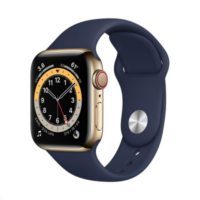Apple Watch Series 6 GPS + Cellular, 44mm Gold Stainless Steel Case + Deep Navy Sport Band