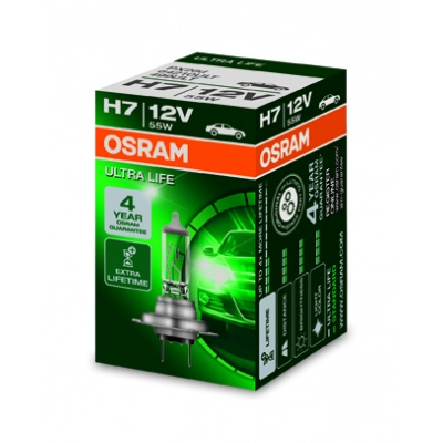OSRAM autožárovka H7 ULTRA LIFE 12V 55W PX26d (Krabička 1ks)