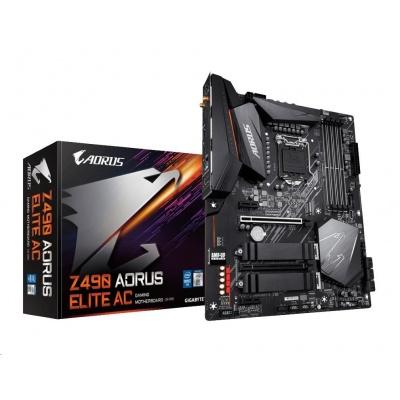 GIGABYTE MB Sc LGA1200 Z490 AORUS ELITE AC, Intel  Z490, 4xDDR4, VGA, WI-FI