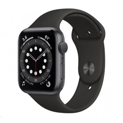 APPLE Watch Series 6 GPS, 44mm vesmírně šedé hliníkové pouzdro + černý sport řemínek
