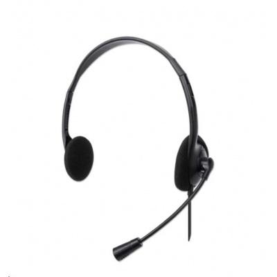 MANHATTAN Sluchátka s mikrofonem Stereo USB Headset, bulk