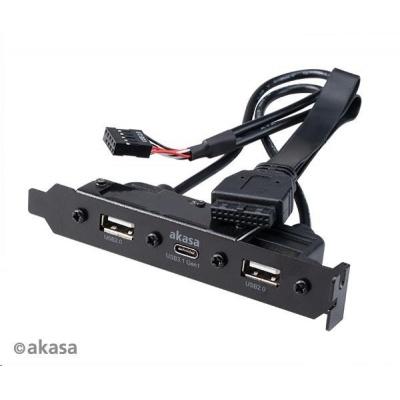 AKASA adaptér MB interní, Type-C USB3.1 Gen1 internal adapter cable + Type-A USB2.0  ports, 40 cm