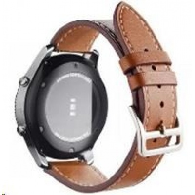 eses kožený řemínek hnědý pro samsung galaxy watch 42mm/gear sport/galaxy watch active/garmin vivoactive 3