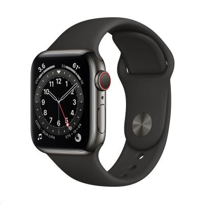 Apple Watch Series 6 GPS + Cellular, 40mm Graphite Stainless Steel Case + Black Sport Band - Regular
