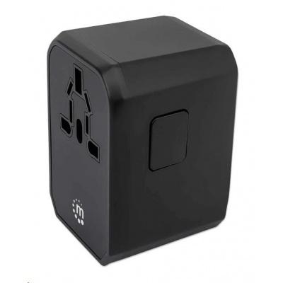 MANHATTAN nabíječka a cestovní adaptér, napájení USB-C, 3xUSB-A, US, EU, UK a AU zástrčky, černá