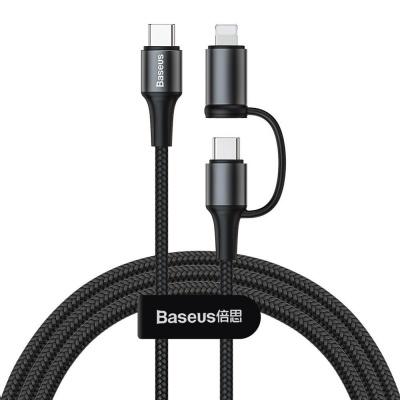 Baseus Twins 2v1 nabíjecí / datový kabel USB-C na USB-C + Lightning 60W 1m, černá