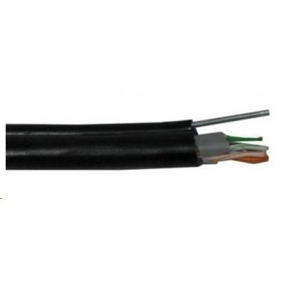 FTP kabel PlanetElite s nosným lankem, Cat5E, drát, venkovní PE+PVC, Fca, černý, 305m