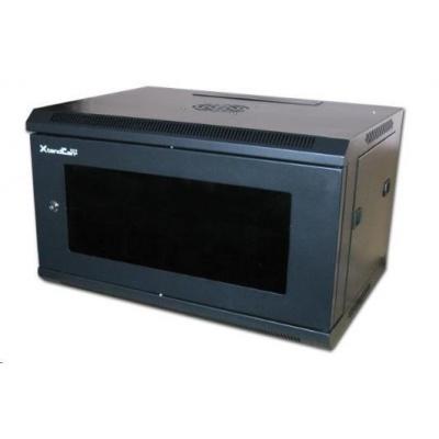 """XtendLan 19"""" jednodílný nástěnný rozvaděč 15U, dodáván rozložený,hloubka 600mm,skleněné dveře-kouřové sklo, nosnost 60kg"""