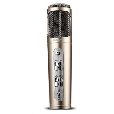 REMAX K02 mikrofon - zlatá barva, Ruční mikrofon pro mobilní telefon, 440mAh baterie, pro Android i iOS, provoz až 6-8 h