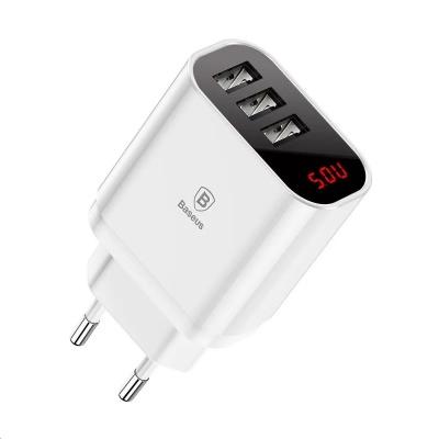 Baseus Mirror Lake nabíjecí adaptér se 3 USB porty 3,4A EU, bílá