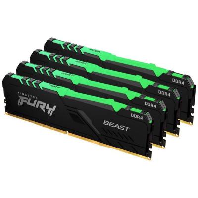 DIMM DDR4 64GB 2666MHz CL16 (Kit of 4) 1Gx8 KINGSTON FURY Beast RGB