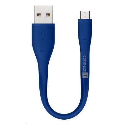 CONNECT IT Wirez Micro USB - USB pro power banky, modrý, 13 cm