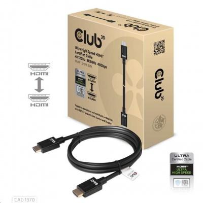 Club3D Adaptér HDMI 2.1 Ultra High Speed 4K120Hz, 8K60Hz, 48Gbps (M/M 1.5 m/4.92 ft)