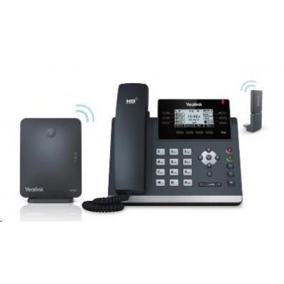 "Yealink W41P IP DECT báze+IP telefon s DECT adaptér, 2,7"" 192x64 LCD, 5 prog.tl., 2x 10/100, PoE, až 8 tel."