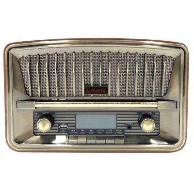 Luvianta designové retro rádio s USB, LCD displej, 12W, 2 pásmové repro, zlaté provedení