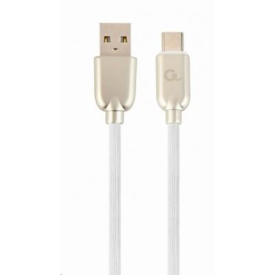 GEMBIRD Kabel CABLEXPERT USB 2.0 AM na Type-C kabel (AM/CM), 2m, pogumovaný, bílý, blister, PREMIUM QUALITY