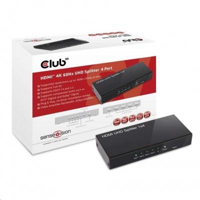 Club3D Video splitter 1:4 HDMI 2.0 4K60Hz UHD, 4 porty