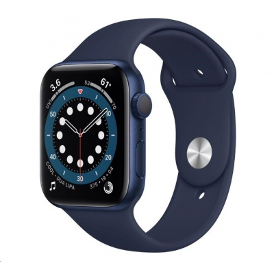APPLE Watch Series 6 GPS, 44mm Blue hliníkové pouzdro + nám. modrý sport řemínek