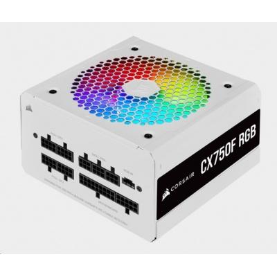 CORSAIR zdroj, CX750F 80+ Bronze modulární RGB, 120mm ventilátor (ATX, 750W), bílá