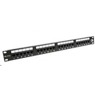 Solarix Patch panel 24 x RJ45 CAT6 UTP 350 MHz černý 1U SX24-6-UTP-BK