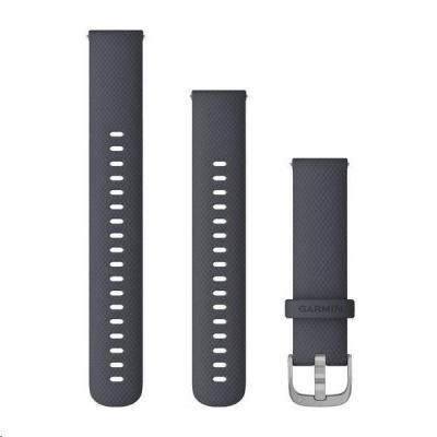 Garmin řemínek Quick Release 18mm, silikonový tmavě šedý, stříbrná přezka