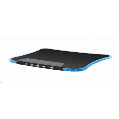 GEMBIRD Podložka pod myš, modré LED podsvícení, USB HUB, 4x USB 2.0