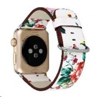 eses kožený květinový řemínek 42/44mm bílý/červený pro Apple Watch