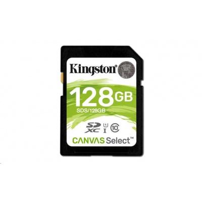 Kingston 128GB SecureDigital Canvas Select (SDXC) Card, 80R Class 10 UHS-I