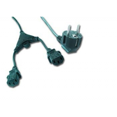 GEMBIRD Kabel napájecí 230V 2m 2 zástrčky (Y rozdvojka)