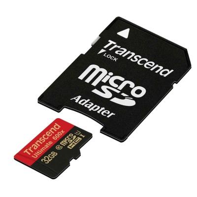 TRANSCEND MicroSDHC karta 32GB Ultimate, Class 10 UHS-I 600x, MLC + adaptér
