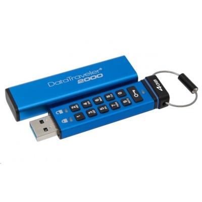 Kingston 4GB USB 3.0 DataTraveler 2000 s klávesnicí a 256bitovým šifrováním