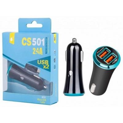 PLUS nabíječka do auta CS501, vstup 2x USB 2,4 / 1 A, černo-modrá