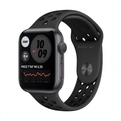 APPLE Watch Nike Series 6 GPS, 44mm vesmírně šedé hliníkové pouzdro + antracitový/černý Nike sport řemínek