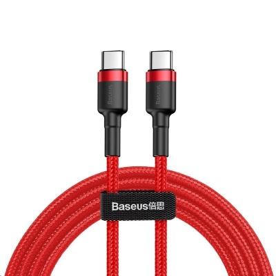 Baseus Cafule Series nabíjecí / datový kabel USB-C na USB-C PD2.0 60W Flash 1m, červená