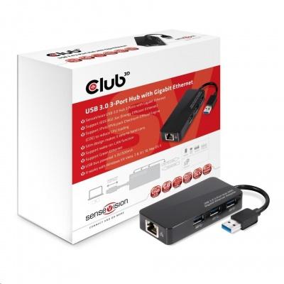 Club3D hub USB typ A 3.2 Gen1 na 3x USB 3.1/Ethernet)