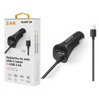 Aligator nabíječka do auta Turbo charge, 12/24 V, 2,4 A, USB-C, 1x USB výstup, černá