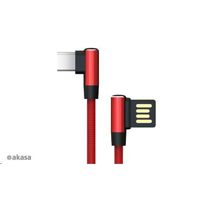 AKASA kabel pravoúhlý, USB Type-A, USB Type-C, napájecí & Sync, 1m, červený