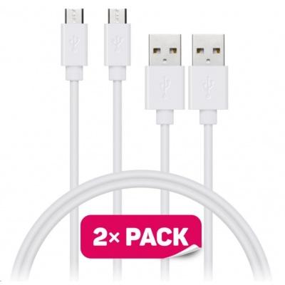 CONNECT IT Wirez Micro USB - USB, bílý, 1 m (2 ks v balení)