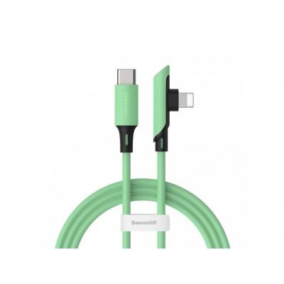 Baseus Colourful Elbow nabíjecí / datový kabel USB-C / Lightning PD 18W 1,2m, zelená