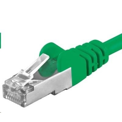 PREMIUMCORD Patch kabel CAT6a S-FTP, RJ45-RJ45, AWG 26/7 0,5m zelená